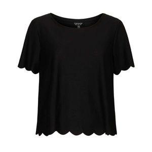 Topshop Scallop Frill Tee Black Blouse Shirt Top 4